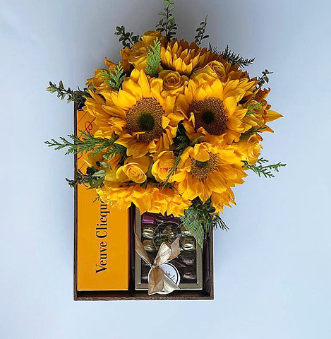 Champagne chocolates sunflowers send buy online delivery nyc