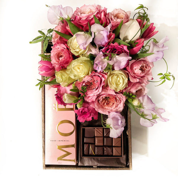 Moët, flowers, la maison du chocolat - same day delivwey by midtown manhattan florist nyc