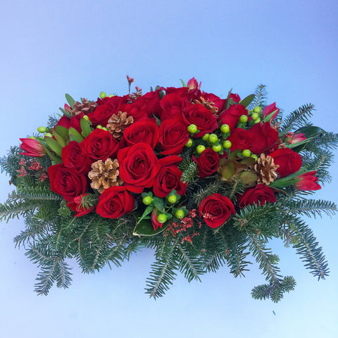 Festive Table Holiday Flower Arrangement - red roses - same day flower delivery and gift crate basket delivery Manhattan NYC New York 10019
