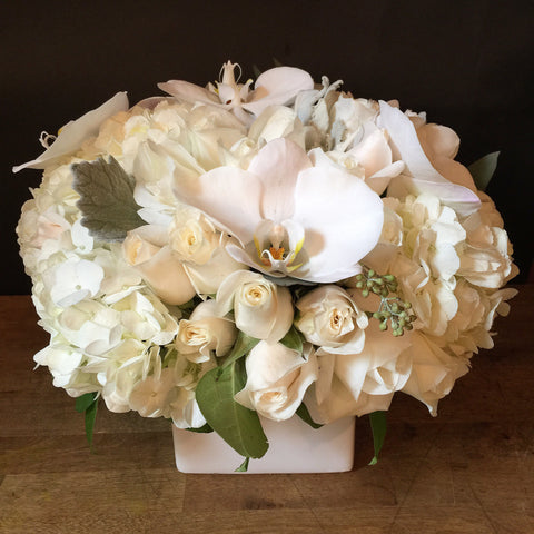 Classic White Flower Arrangement - same day flower and gift crate delivery Manhattan florist NYC