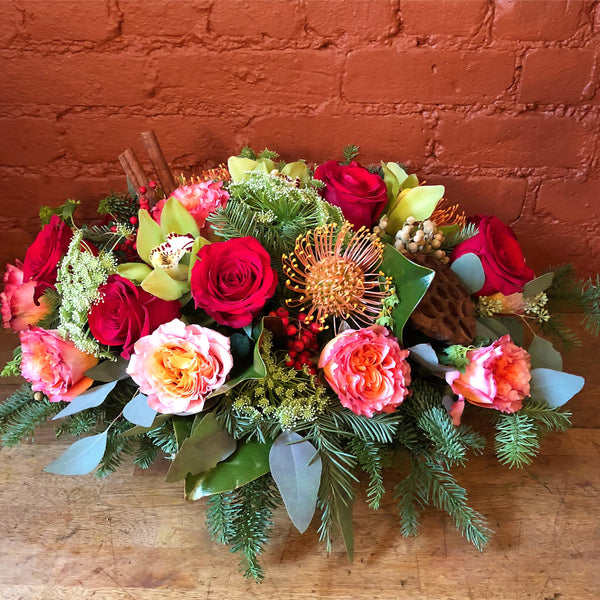 Holiday Cheer Flower Arrangement - same day flower delivery and gift crate basket delivery Manhattan NYC New York 10019
