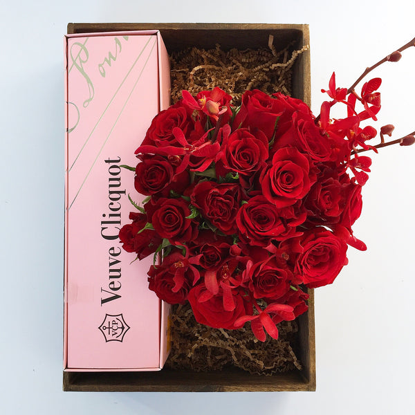 Rosé & Roses Flower Arrangement - red roses - same day flower delivery and gift crate basket delivery Manhattan NYC New York 10019 10022
