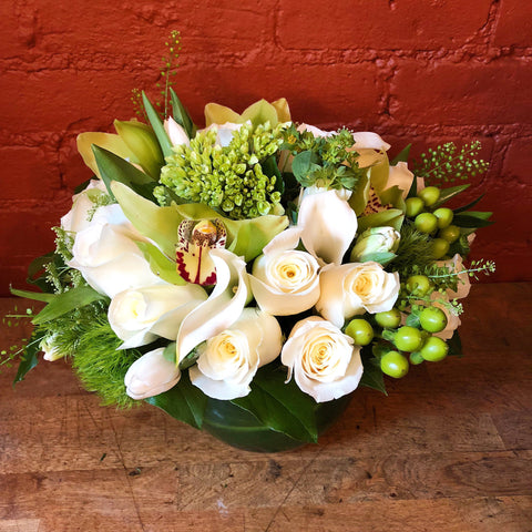 Crispy White Flower Arrangement - same day flower delivery gift crate delivery Manhattan florist NYC 10022