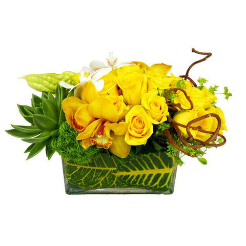 Yellow Dream Flower Arrangement - yellow roses - same day flower delivery and gift crate basket delivery Manhattan Midtown NYC New York 10019 10022
