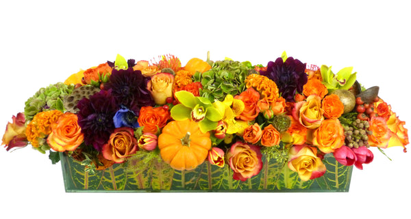 Traditional Thanksgiving Centerpiece Flower Arrangement - thanksgiving - same day flower delivery and gift crate basket delivery Manhattan Midtown NYC New York 10019 10022