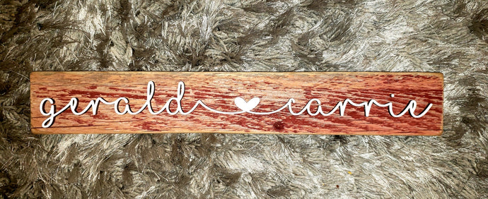 Red Barn Wood with Couples Name