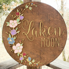"Load image into Gallery viewer, The ""Laken"" Round Name Sign"