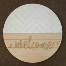 "Load image into Gallery viewer, DIY - 15"" Herringbone/Shiplap Welcome Round"