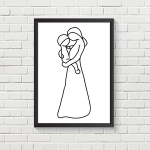 Line Art Mother's Embrace
