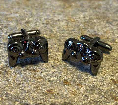 Gunmetal Video Game Controller Cufflinks