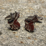 Brown and Silver Equestrian Horse Saddle Cufflinks