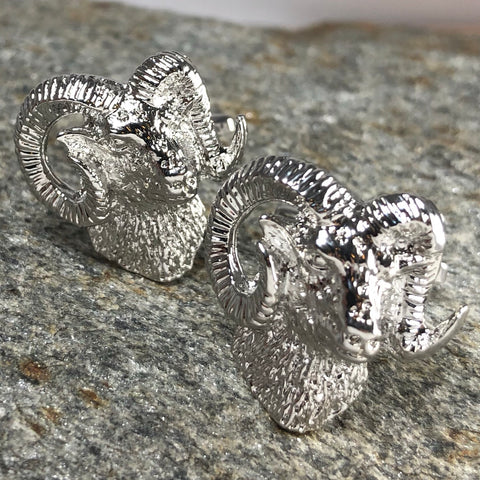 Silver Rams Head Cufflinks