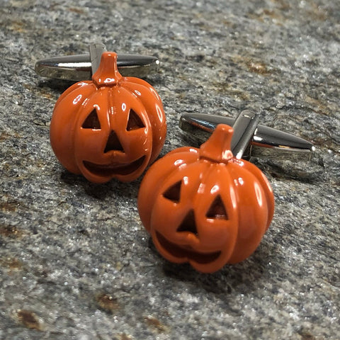 Orange Jack O' Lantern Pumpkin Cufflinks