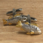 Silver and Gold Bass Fish Cufflinks