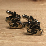 Silver and Black Pisces Zodiac Symbol Cufflinks