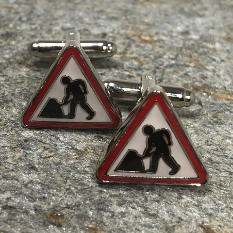 Construction Sign Cufflinks