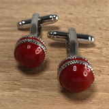Red and Silver Cricket Ball Cufflinks