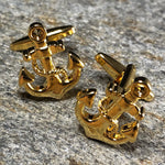 Gold Anchor with Wrapped Rope Cufflinks