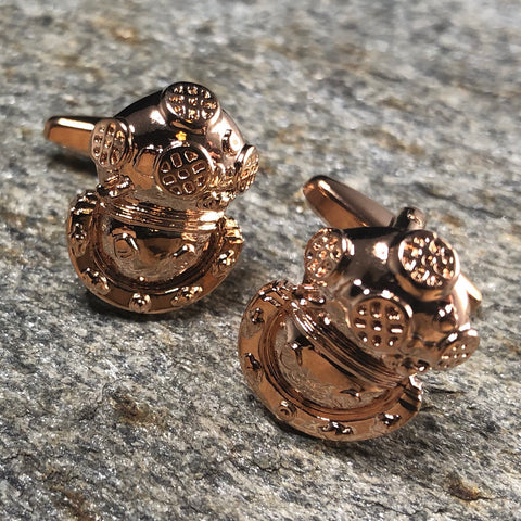 Rose Gold Divers Helmet Cufflinks