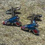 Silver and Blue Retro Ray Gun Cufflinks