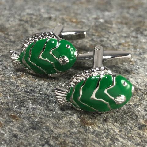 Green and Silver Fish Cufflinks
