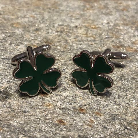 Green Four Leaf Clover Shamrock Cufflinks