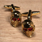 Gold Skull with Red Crystal Eyes Cufflinks