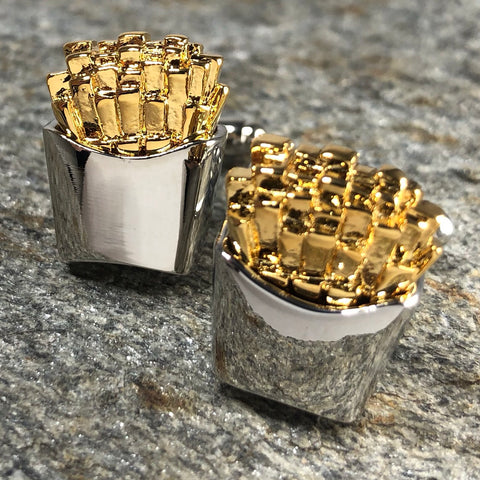 Silver and Gold Box of French Fries Cufflinks