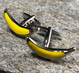 Yellow and Silver Banana Cufflinks