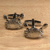 Silver Crab Cufflinks with Movable Claws