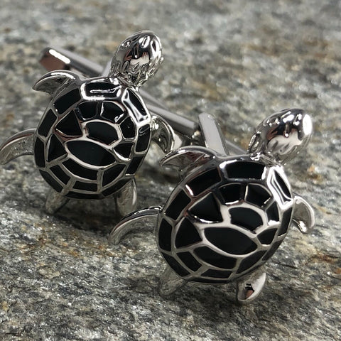 Black and Silver Turtle Cufflinks