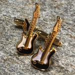 Black and Gold Electric Guitar Cufflinks