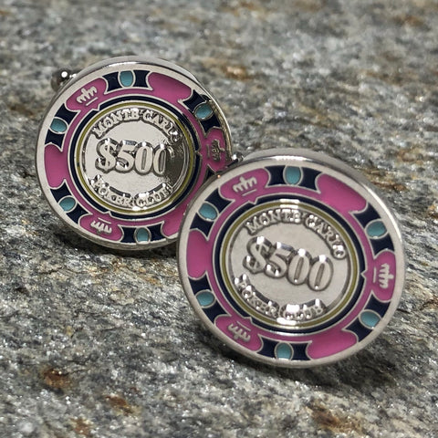 Pink Montecarlo Poker Chip Cufflinks