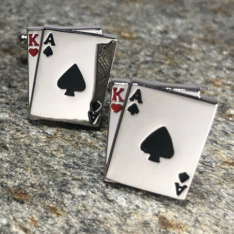 Silver Blackjack Playing Card Hand Cufflinks