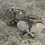 Silver Crossed Tennis Racket Cufflinks