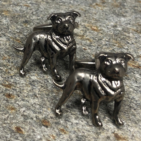 Gunmetal Staffordshire Dog Cufflinks