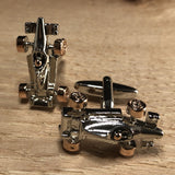 Silver Race Car with Rose Gold Wheels Cufflinks