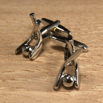 Silver Field Hockey Stick and Ball Cufflinks