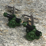 Green and Black Cannon Cufflinks