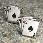 Silver Three Aces Playing Card Cufflinks