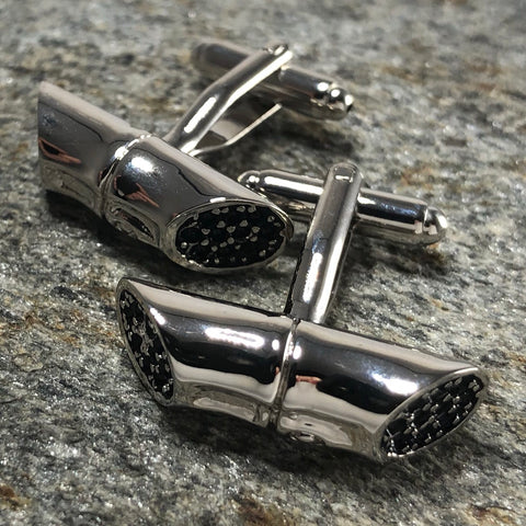 Silver and Black Piece of Bamboo Cufflinks