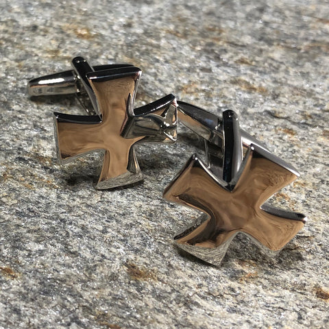 Silver Patty Cross Cufflinks