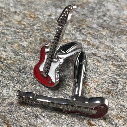 Red and Silver Electric Guitar Cufflinks