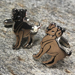 Silver and Black Aires Zodiac Symbol Cufflinks