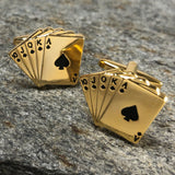 Gold Royal Flush Hand of Cards Cufflinks