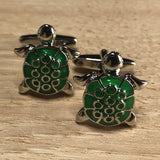Silver Turtle with Green Shell Cufflinks