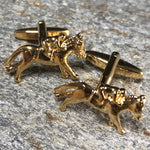 Gold Jockey Riding a Horse Cufflinks
