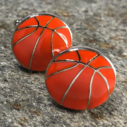 Orange and Silver Basketball Cufflinks