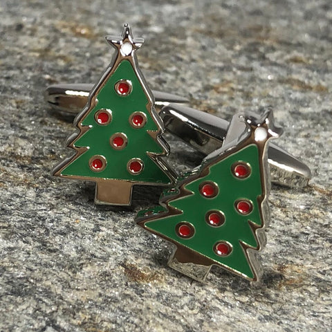 Green and Red Christmas Tree Cufflinks