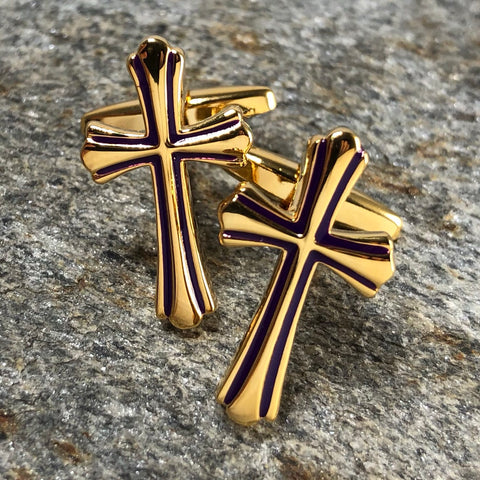 Gold Cross with Purple Accents Cufflinks